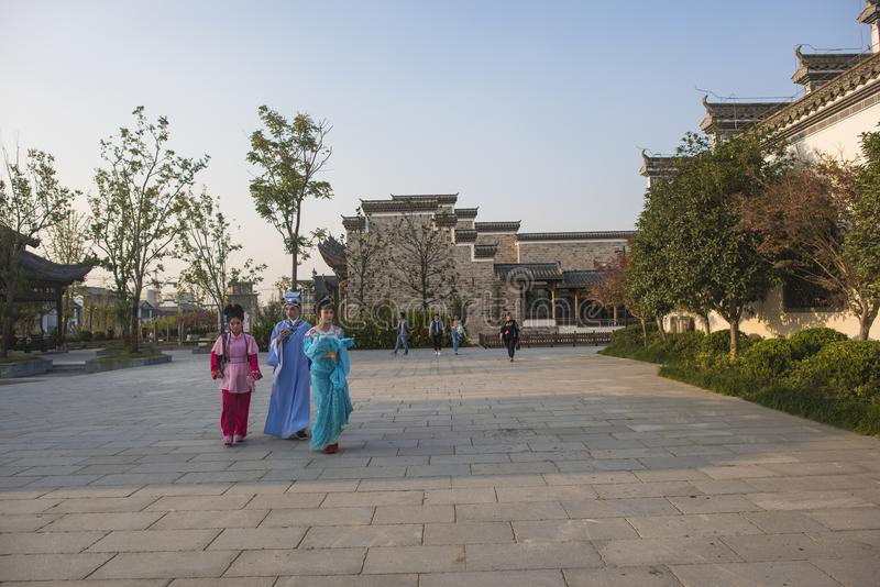 The young huangmei opera actor walked in the town of kuizi. The young huangmei opera actor walked in the town of kuzze and was photographed in wuhu, anhui stock photography