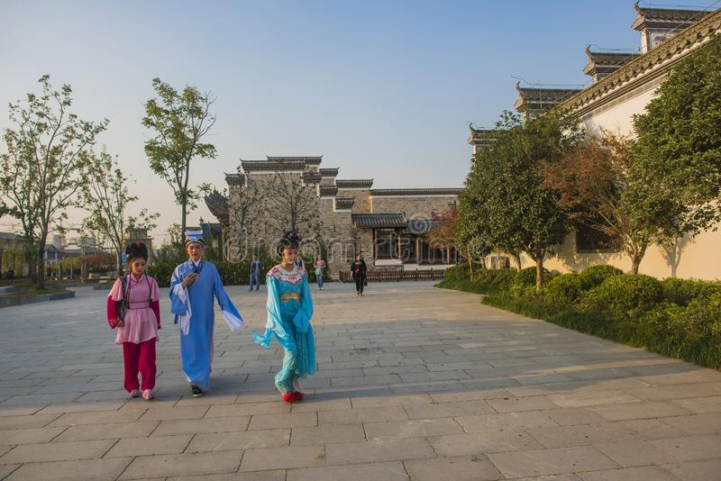 The young huangmei opera actor walked in the town of kuizi. The young huangmei opera actor walked in the town of kuzze and was photographed in wuhu, anhui royalty free stock photography