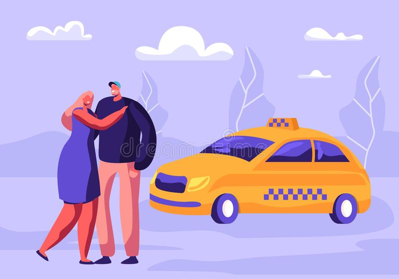 Young Hugging Couple Waiting Taxi Car on Street with Suburb Background. Transportation Service, Passenger Delivery, Destination. Yellow Taxi Cab Waiting vector illustration