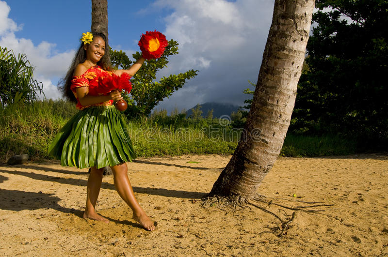 Young Hula dancer stock image