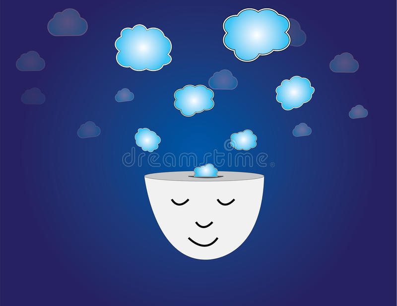 Young human dreaming meditating thought bubbles vector illustration