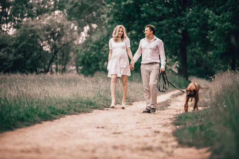 Young husband and wife talk the time to walk in the Park royalty free stock photos