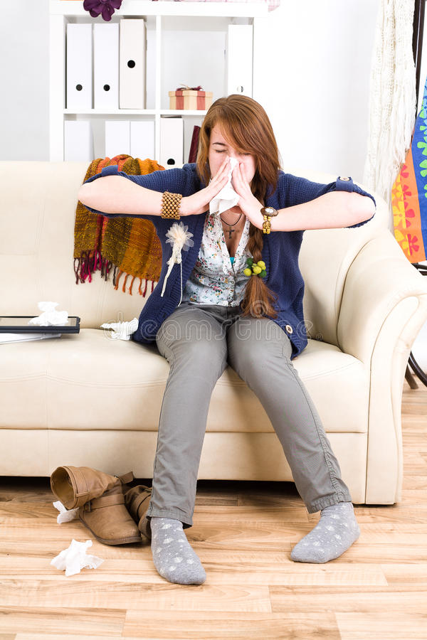 Young ill girl stock image