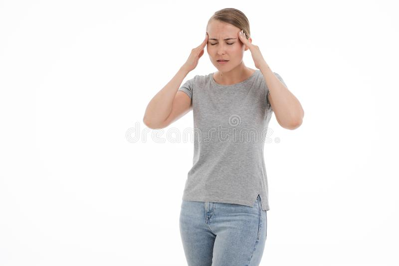 Young sick woman is feeling unwell, ache, pain, bad. White background. stock image