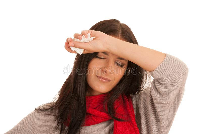 Young ill woman has headache isolated over white background royalty free stock image