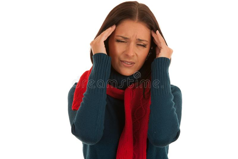 Young ill woman has headache isolated over white background stock images