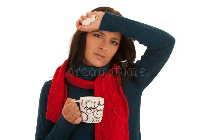Young ill woman has headache isolated over white background royalty free stock images