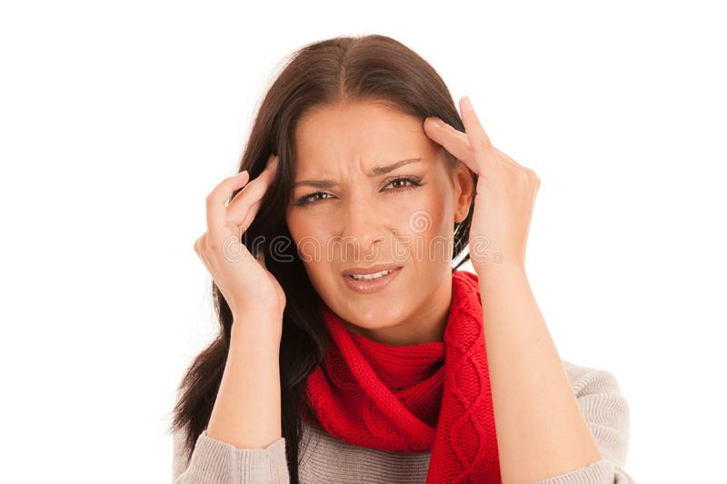 Young ill woman has headache isolated over white background stock photos
