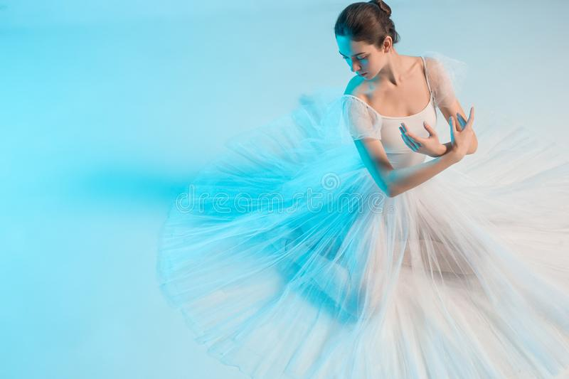Young and incredibly beautiful ballerina is dancing in a blue studio royalty free stock images