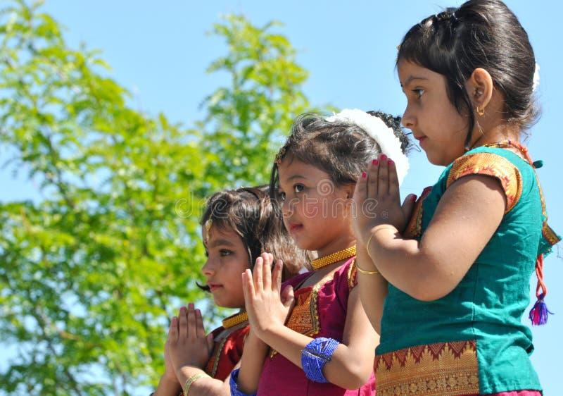 Young Indian Dancers. At Edmonton's Heritage Days stock photos