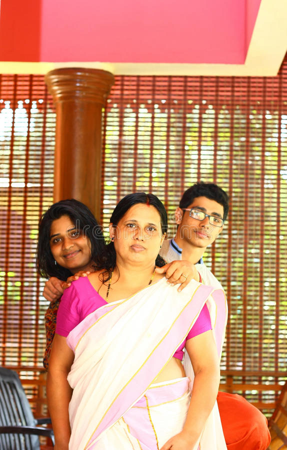 Young Indian Family - Mother, Daughter And Son Stock Photo