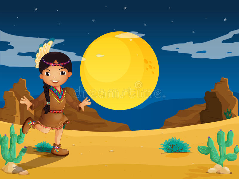 A young Indian girl at the desert vector illustration