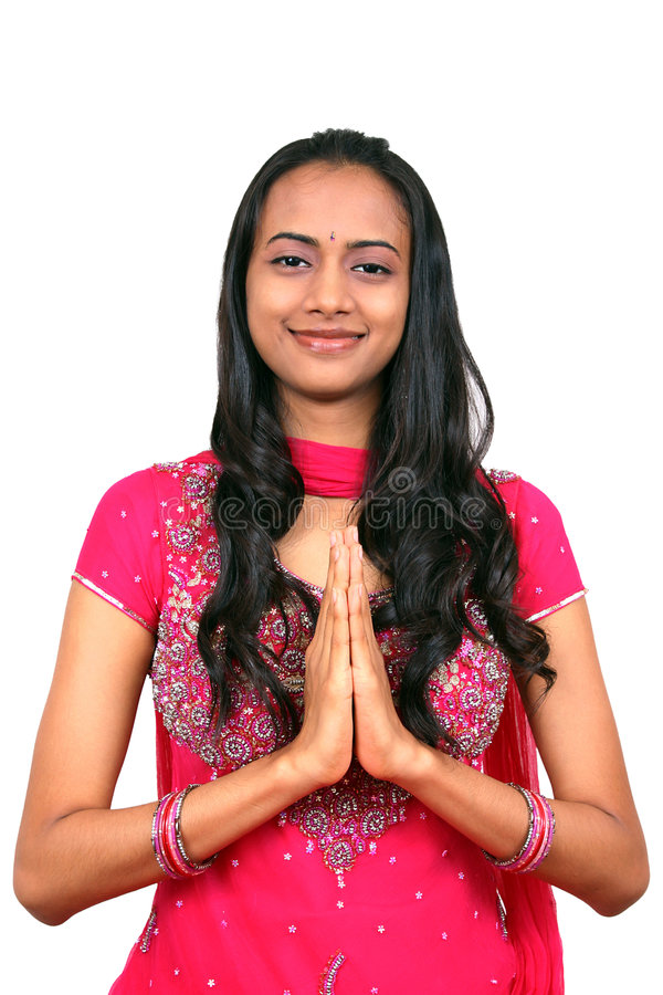 Download Young Indian Girl In Namaste Pose. Stock Photos - Image: 6598723