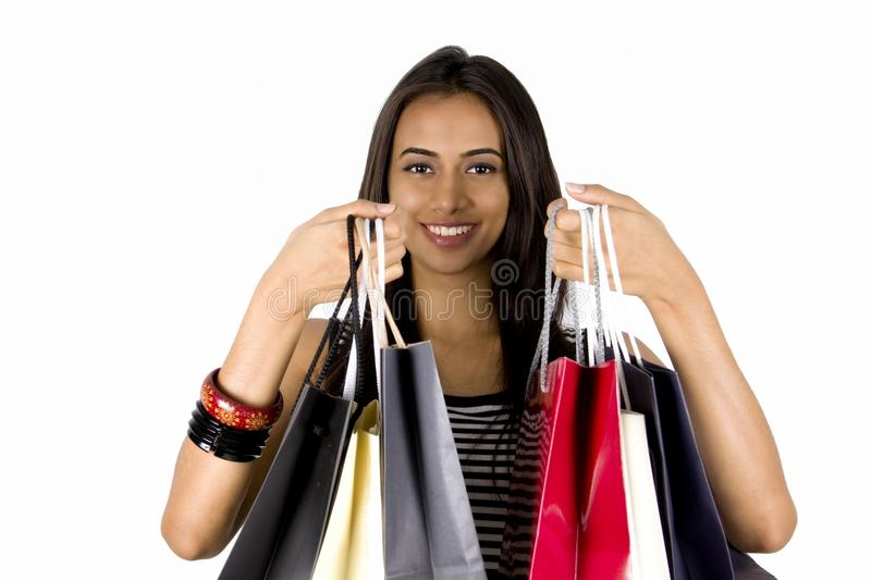 Young Indian girl shopping. stock photography