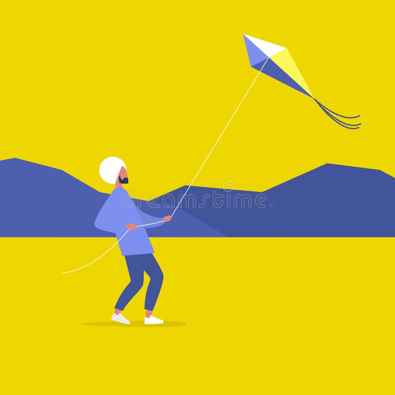 Young indian male character flying a kite outdoor, leisure pursuit.  royalty free illustration