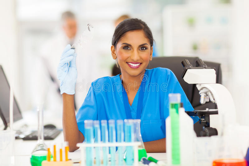 Young indian scientist stock photo