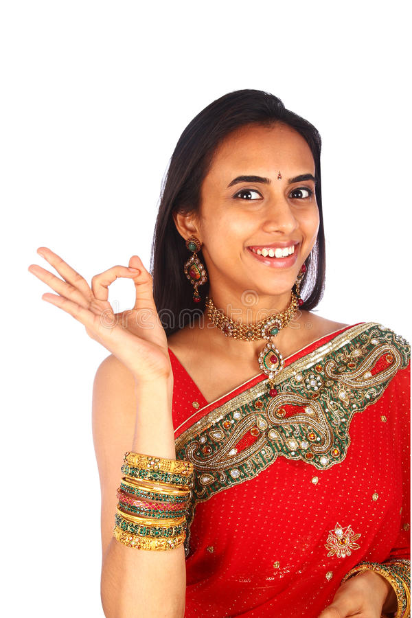 Download Young Indian Woman With Ok Gesture. Stock Image - Image: 24001517