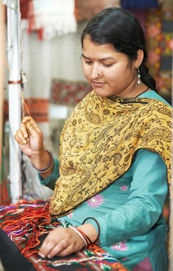 Download Young indian woman weaver stock photo. Image of pashmina - 28529918