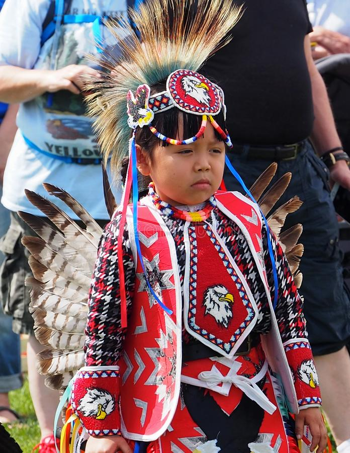 Young Indigenous Dancer At Edmonton`s Heritage Days royalty free stock images