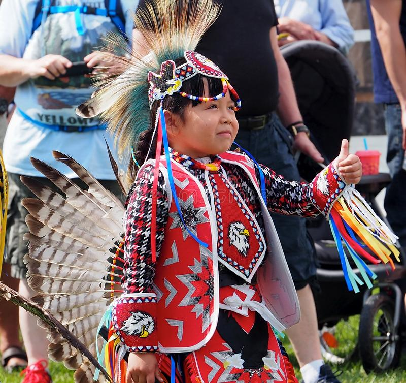 Young Indigenous Dancer At Edmonton`s Heritage Days stock images