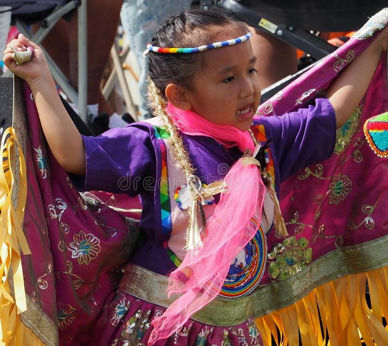 Young Indigenous Dancer At Edmonton`s Heritage Days royalty free stock photo