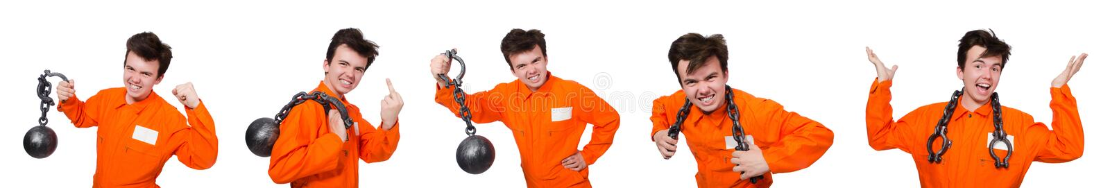 The young inmate with chains isolated on the white. Young inmate with chains isolated on the white royalty free stock photos