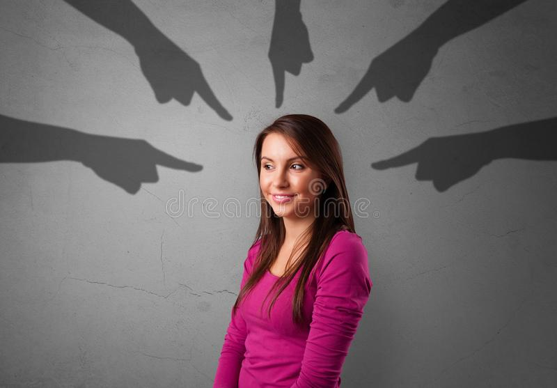 Student with pointing hands concept stock image