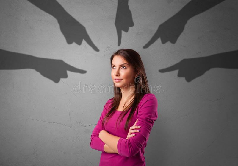 Student with pointing hands concept royalty free stock image