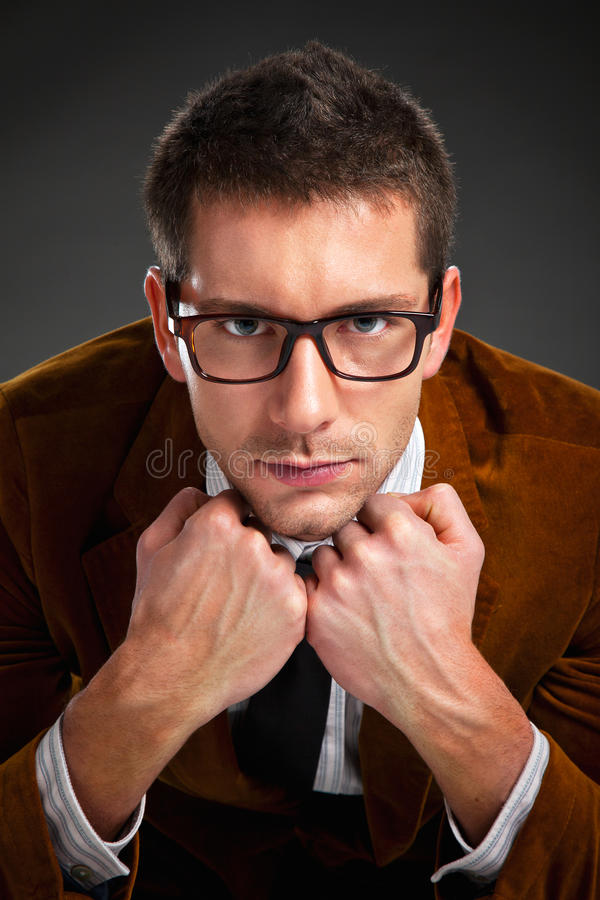 Download Young Interesting Businessman With Rimmed Glasses Royalty Free Stock Images - Image: 29380169
