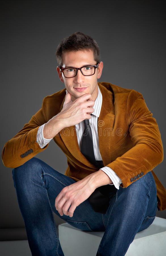 Download Young Interesting Businessman With Rimmed Glasses Stock Image - Image: 29380177