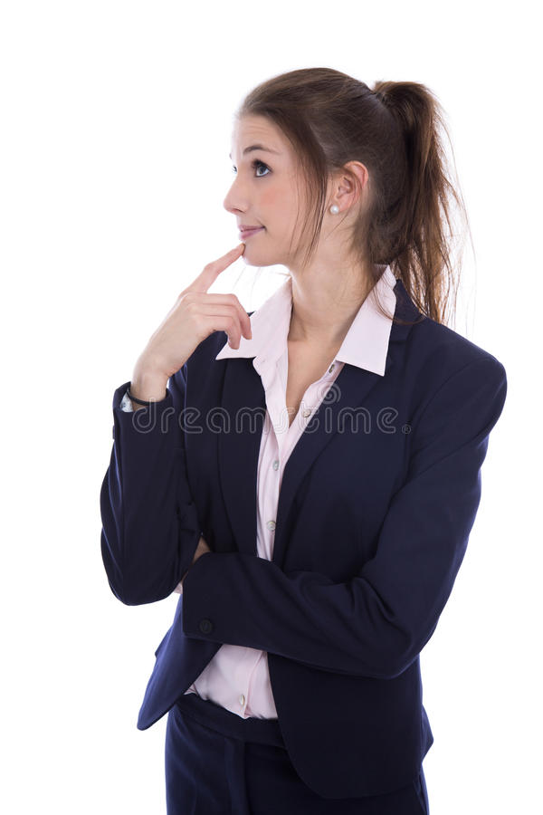 Free Young Isolated Pretty Pensive Businesswoman Thinking About Her F Royalty Free Stock Image - 46901486
