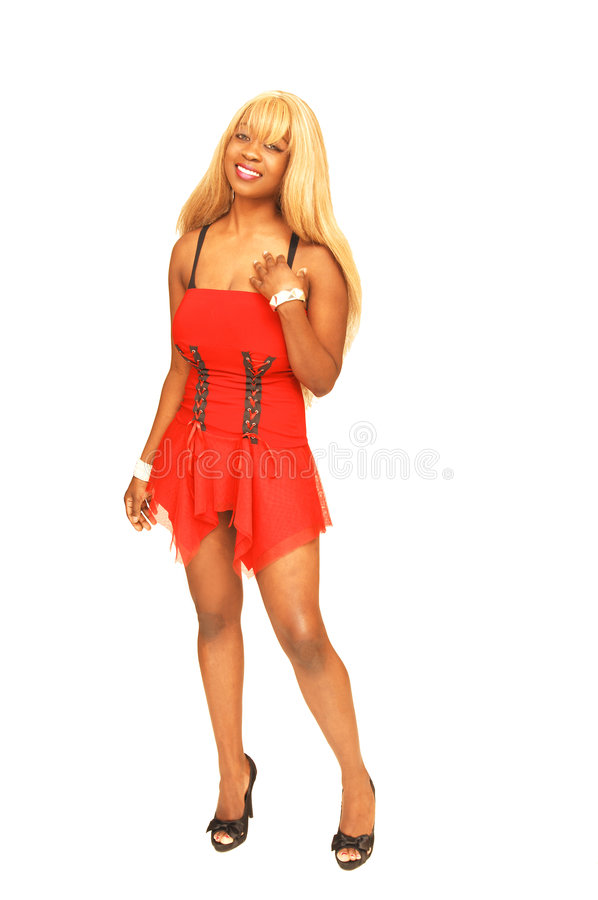Young Jamaican girl in red 66. royalty free stock images