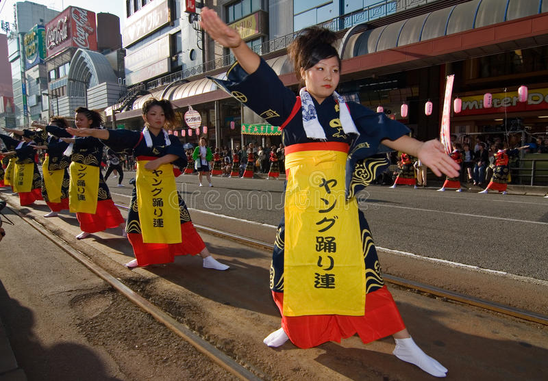 Young Japanese Festival Dancers royalty free stock photo