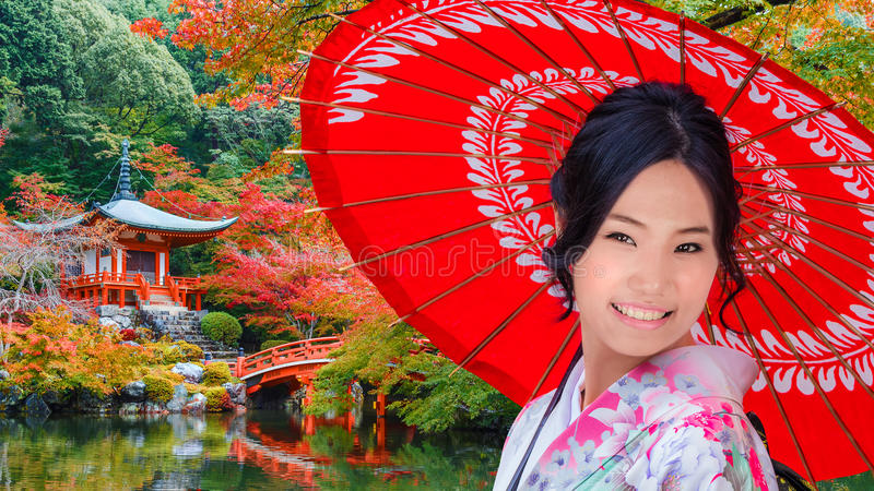 Young Japanese Woman at Daigoji Temple in Kyoto. Japan royalty free stock images