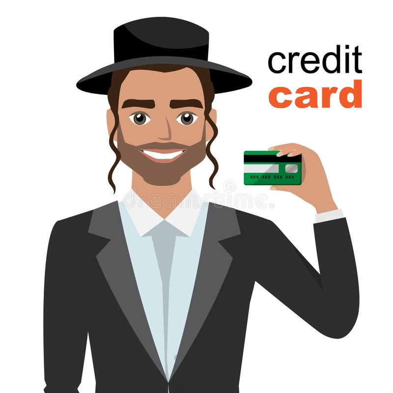Young jew man smiling, showing, presenting credit card for making paymen. Eps10 vector illustration