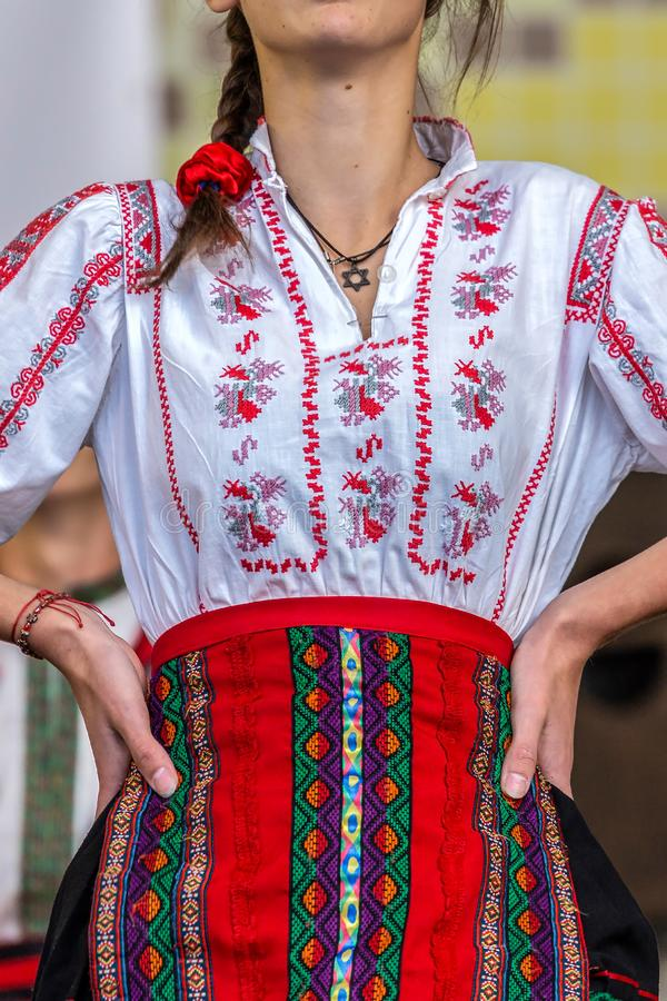 Young Jewish dancer dressed in traditional Romanian costume. Young Jewish dancer from Romania dressed in traditional Romanian costume, specifically for Banat stock photography