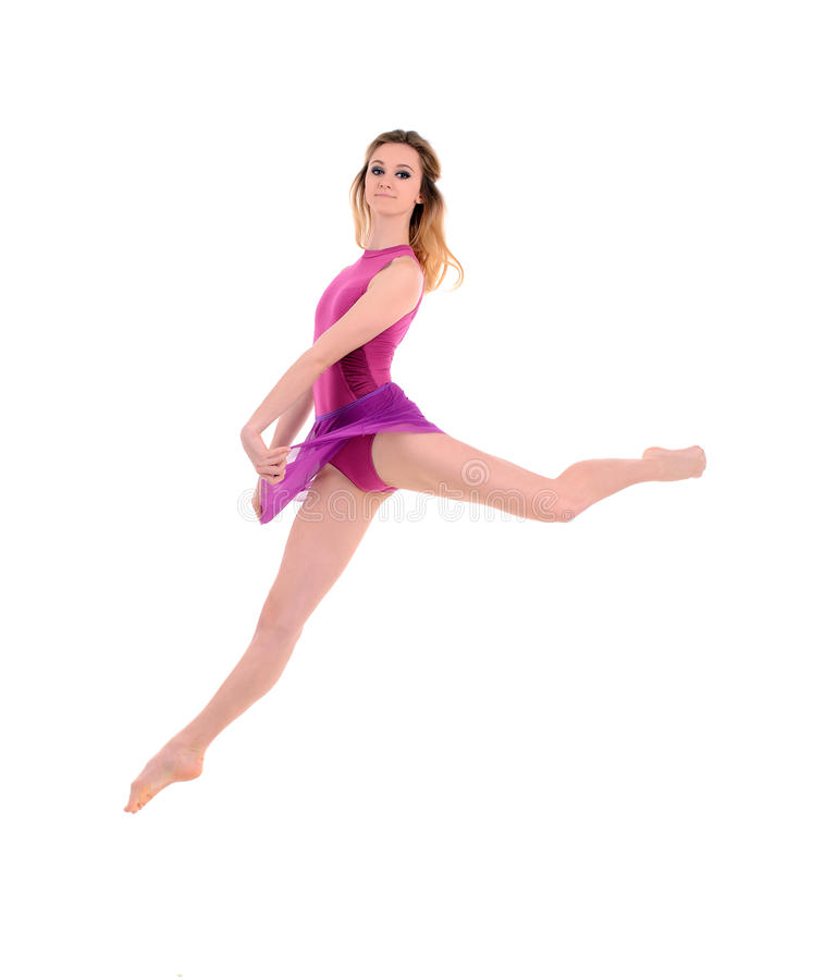 Young jumping female dancer stock images