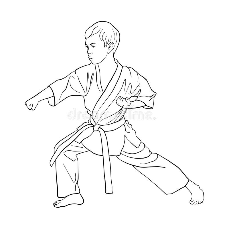 Young karate boy. Hand drawn vector illustration royalty free illustration