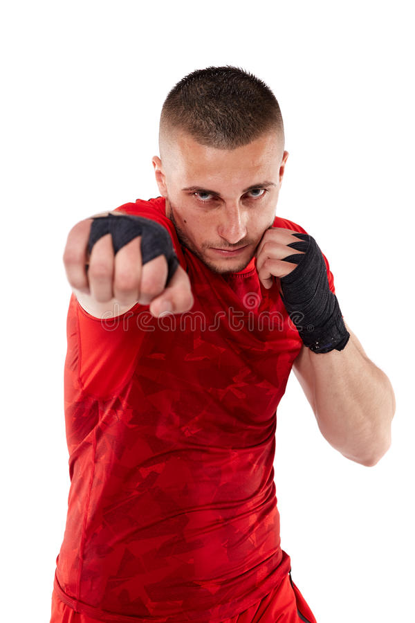 Young kickbox fighter on white stock images