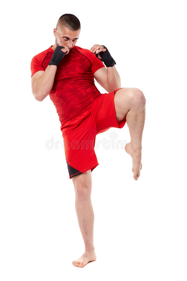 Young kickbox fighter on white stock image