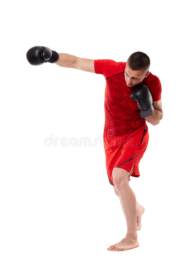 Young kickbox fighter on white stock photos