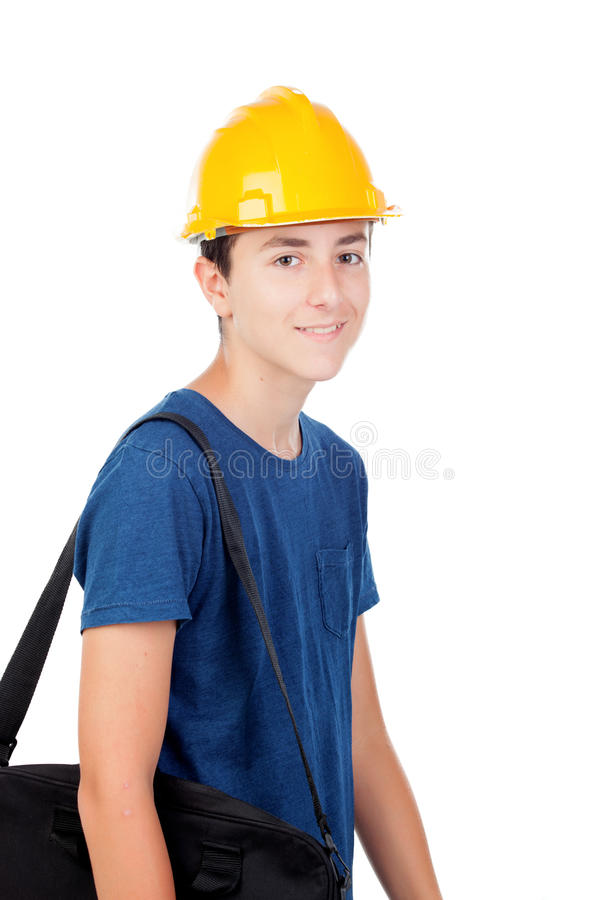 Young kid with yellow helmet. A future architect stock images