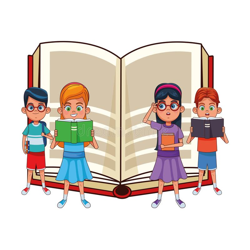 Young kids with big book vector illustration