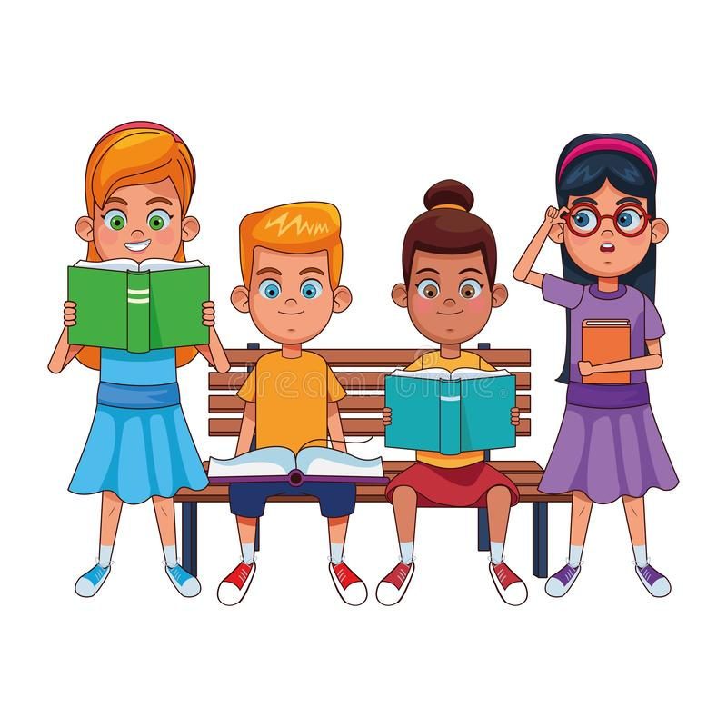 Young kids with books on a bench vector illustration