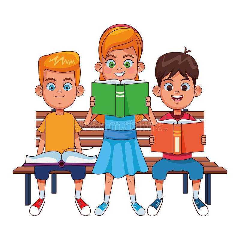 Young kids with books on a bench stock illustration