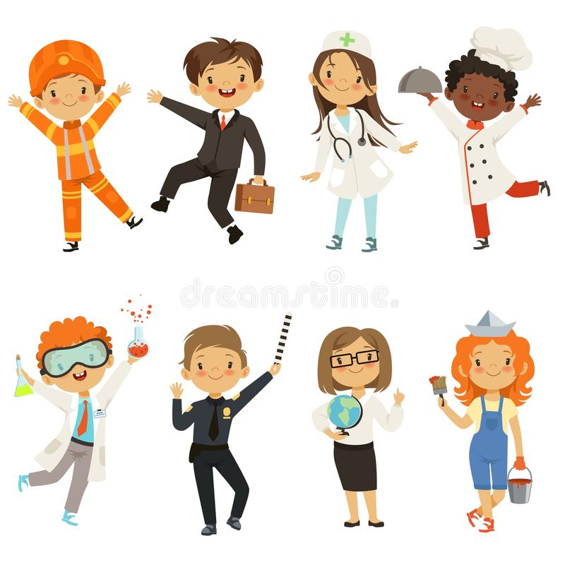 Young kids boys and girls of different professions stock illustration