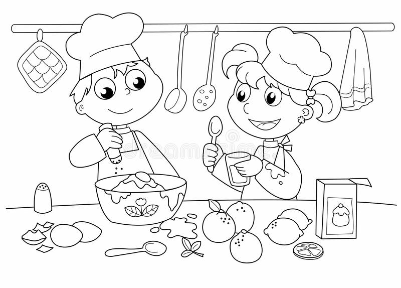 Young kids cooking. Children cooking in a kitchen. Digital black and white illustration stock illustration