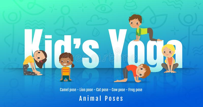 Young kids in different yoga poses, Children doing yoga with animal posture. cartoon illustration vector illustration