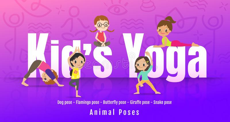 Young kids in different yoga poses, Children doing yoga with animal posture. cartoon illustration stock illustration