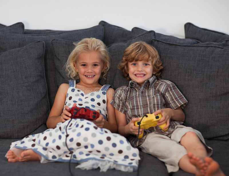 Download Young Kids Playing Video Games Stock Image - Image: 9137907